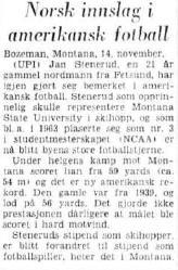 Aftenposten 15.november 1965: Stenerud sitt 59 yards FG får en notis