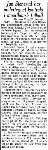 Aftenposten 25.januar 1967: Steneruds første profesjonelle kontrakt vies oppmerksomhet