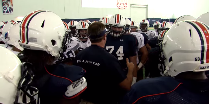 Auburn players gather