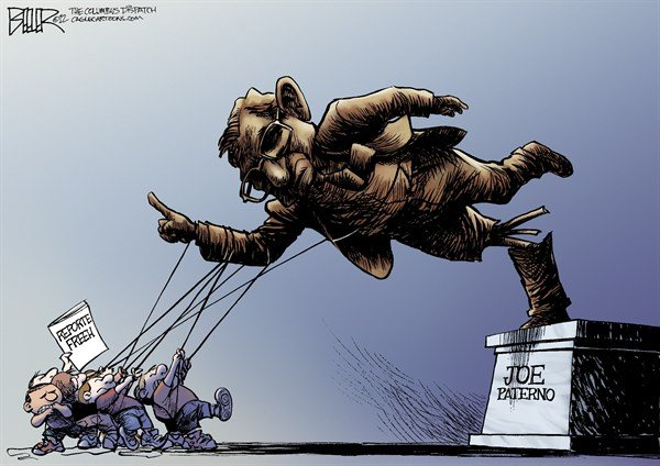 Joe Pa statue tear down cartoon