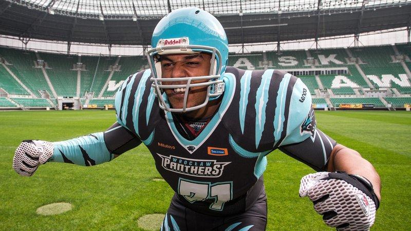 Babatunde i drakten til Wroclaw Panthers