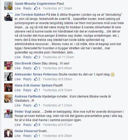 Glads - reaksjoner fb-siden AmFotball