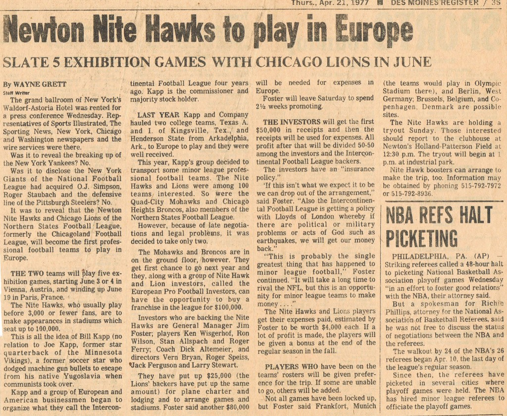 Newton Nite Hawks - Des Moines Register - 19770421