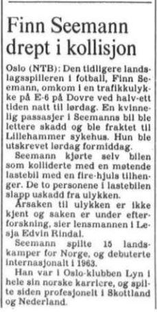 Aftenposten 19850909 - Finn Seemann drept i kollisjon