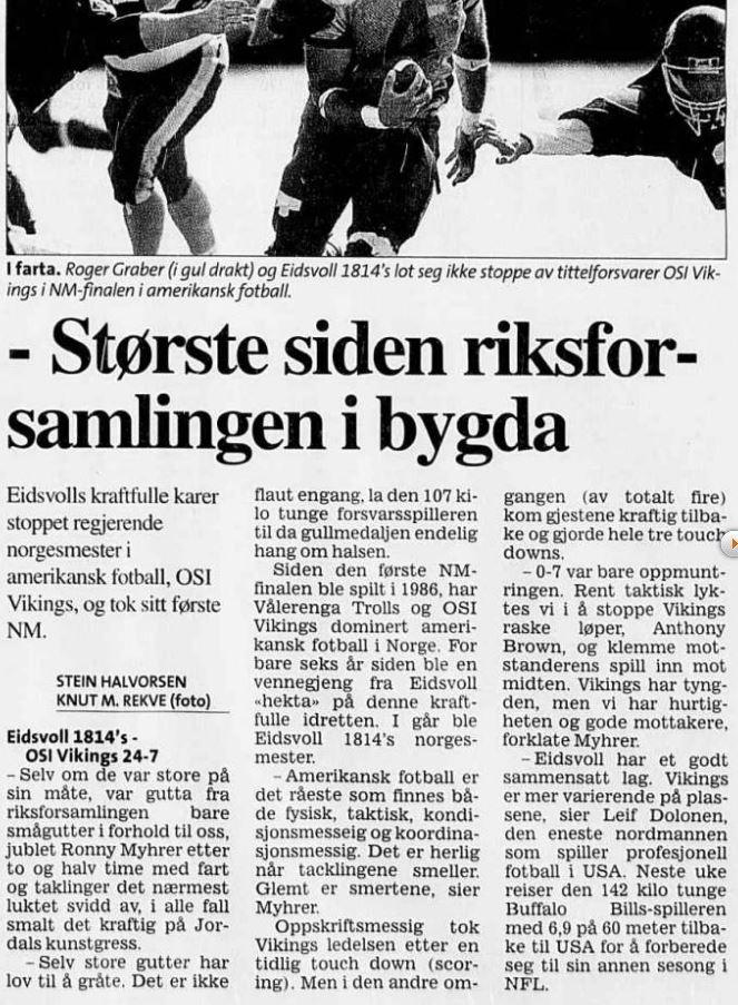 NM-finale 2001 - Eidsvoll vinner for første gang Aftenposten