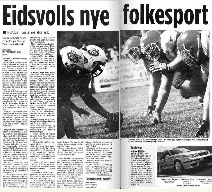NM-finale 2005 - Faksimile innside Aftenposten