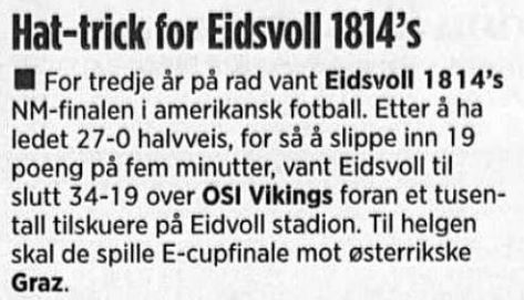 NM-finale 2006 - Eidsvoll 3 på rad