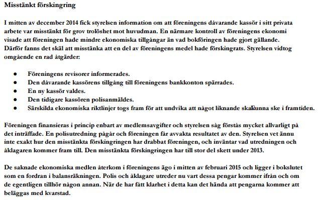 Tommy Wiking - utdrag RepF revisor rapport desember 2014