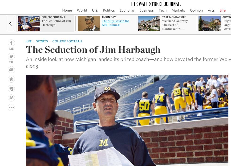 Wall Street Journal - The seduction of Jim Harbaugh