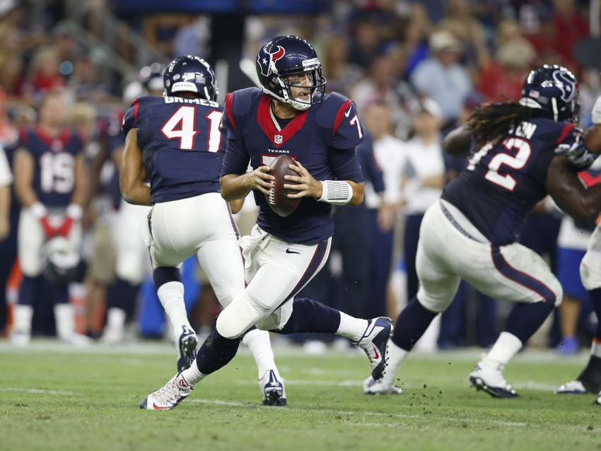Aug 22, 2015; Houston, TX, USA; Houston Texans quarterback Brian Hoyer (7) rolls out of the pocket against the Denver Broncos at NRG Stadium. Mandatory Credit: Matthew Emmons-USA TODAY Sports