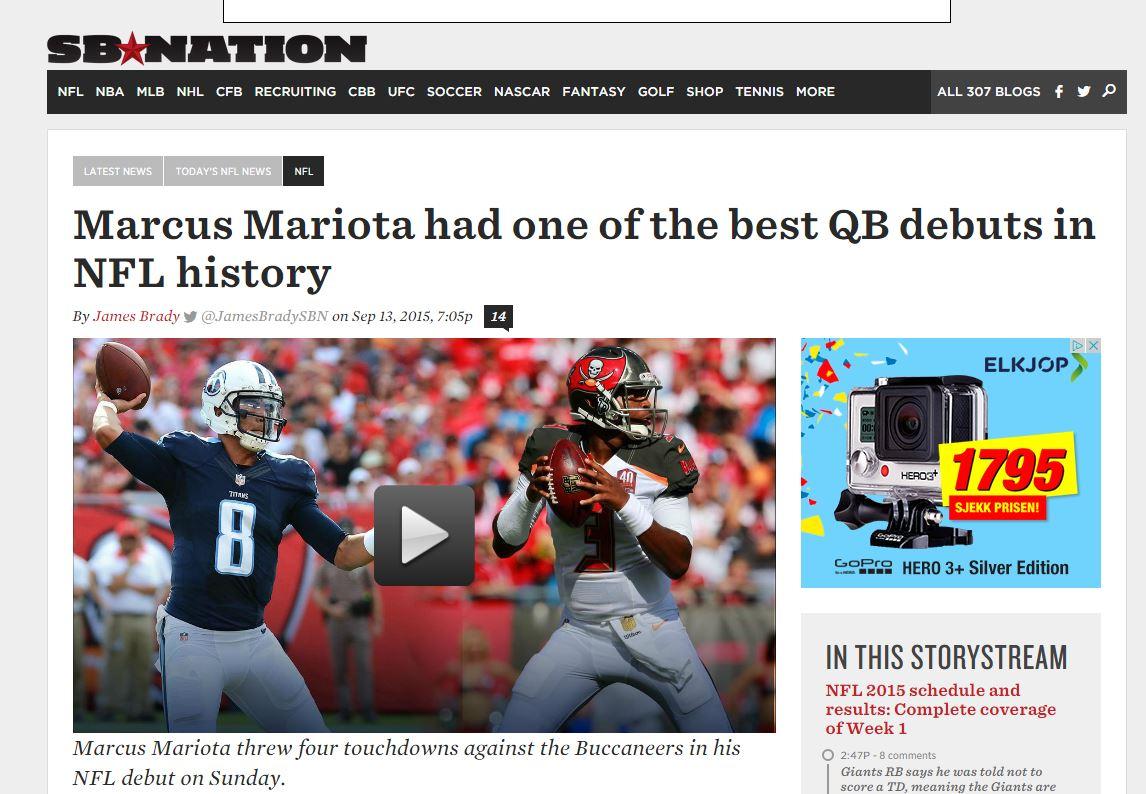 SB Nation om Marcus Mariota sin NFL debut
