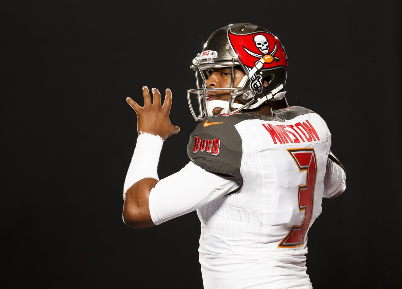 MAY 1, 2015 - TAMPA, FLORIDA: Tampa Bay Buccaneers first round draft pick Quarterback Jameis Winston #3. Photo by Matt May/Tampa Bay Buccaneers