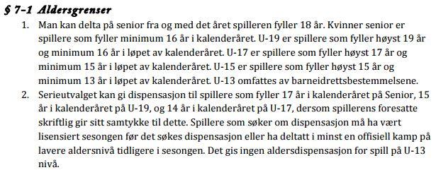Aldersgrenser i KR 7-1 pkt 1 og 2