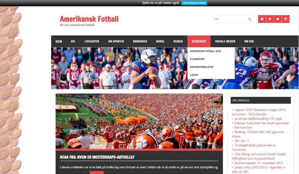 Amerikansk Fotball-wiki i menyen på Amerikansk Fotball