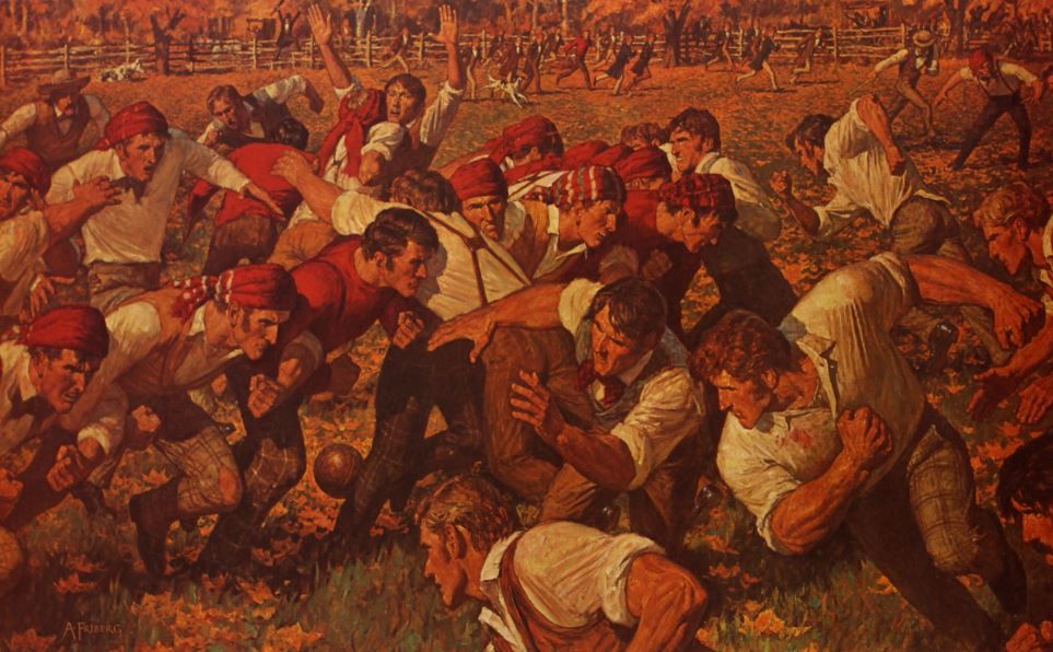 The First Game - utsnitt av maleri av Arnold Friberg