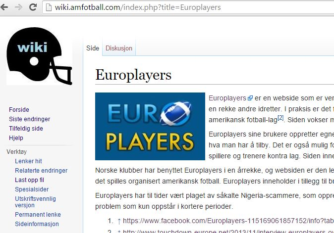 WikiAmFotballCom - artikkel screenshot