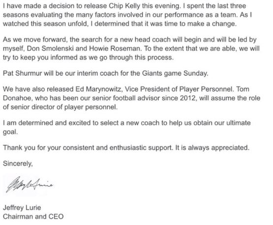 Chip Kelly statement fra Eagles