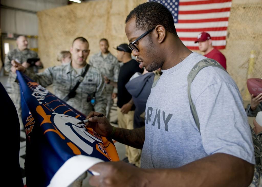 NFL players visit service members at TCM