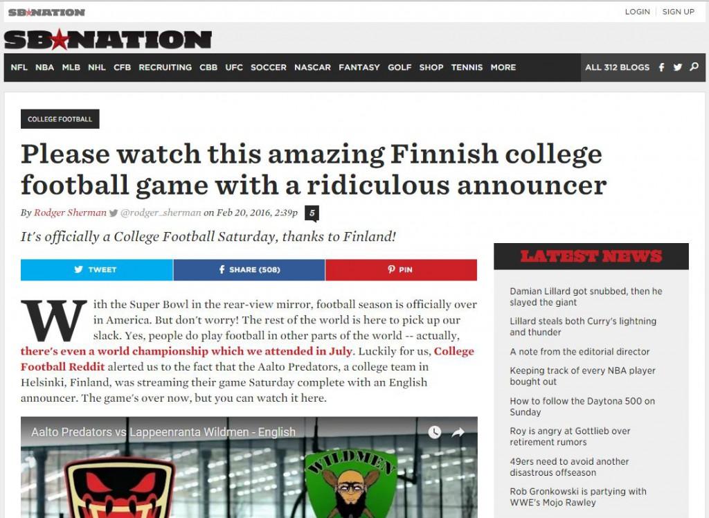 Finsk college-fotball får solid oppmerksomhet
