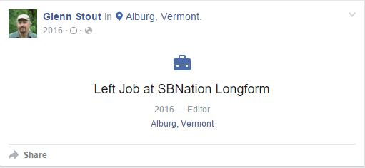 Glenn Stout left job at SB Nation Longform