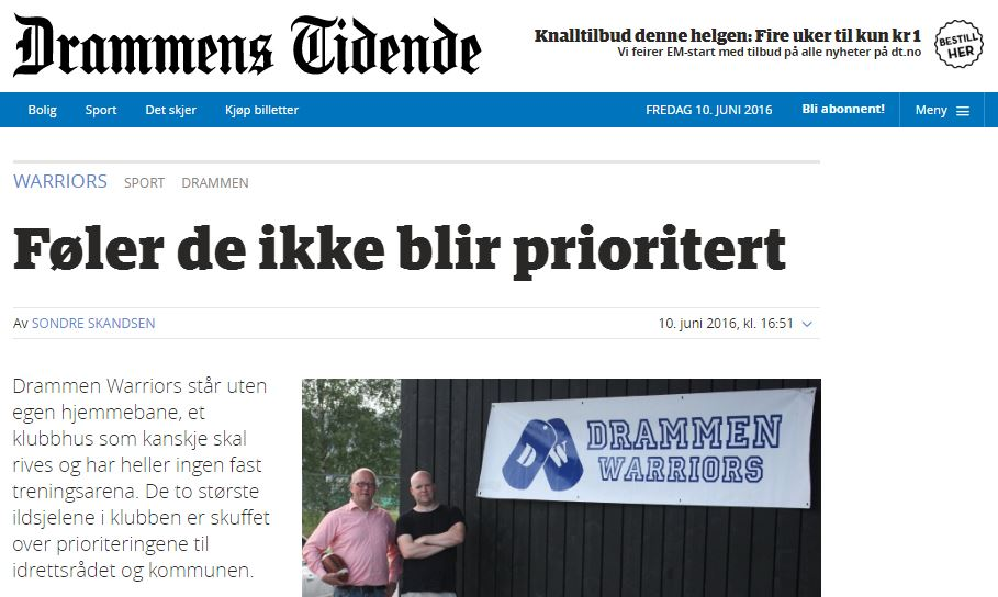 DT 20160610 - Warriors ikke prioritert