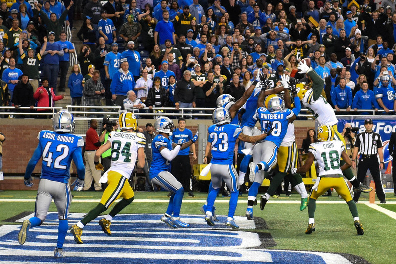Richard Rodgers tar i mot Hail Mary mot Detroit Lions