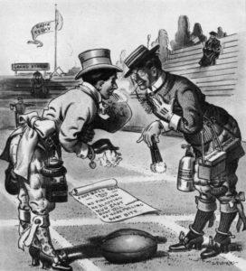 En politisk tegneserie fra 1906 gjør narr av de nye fotballreglene.